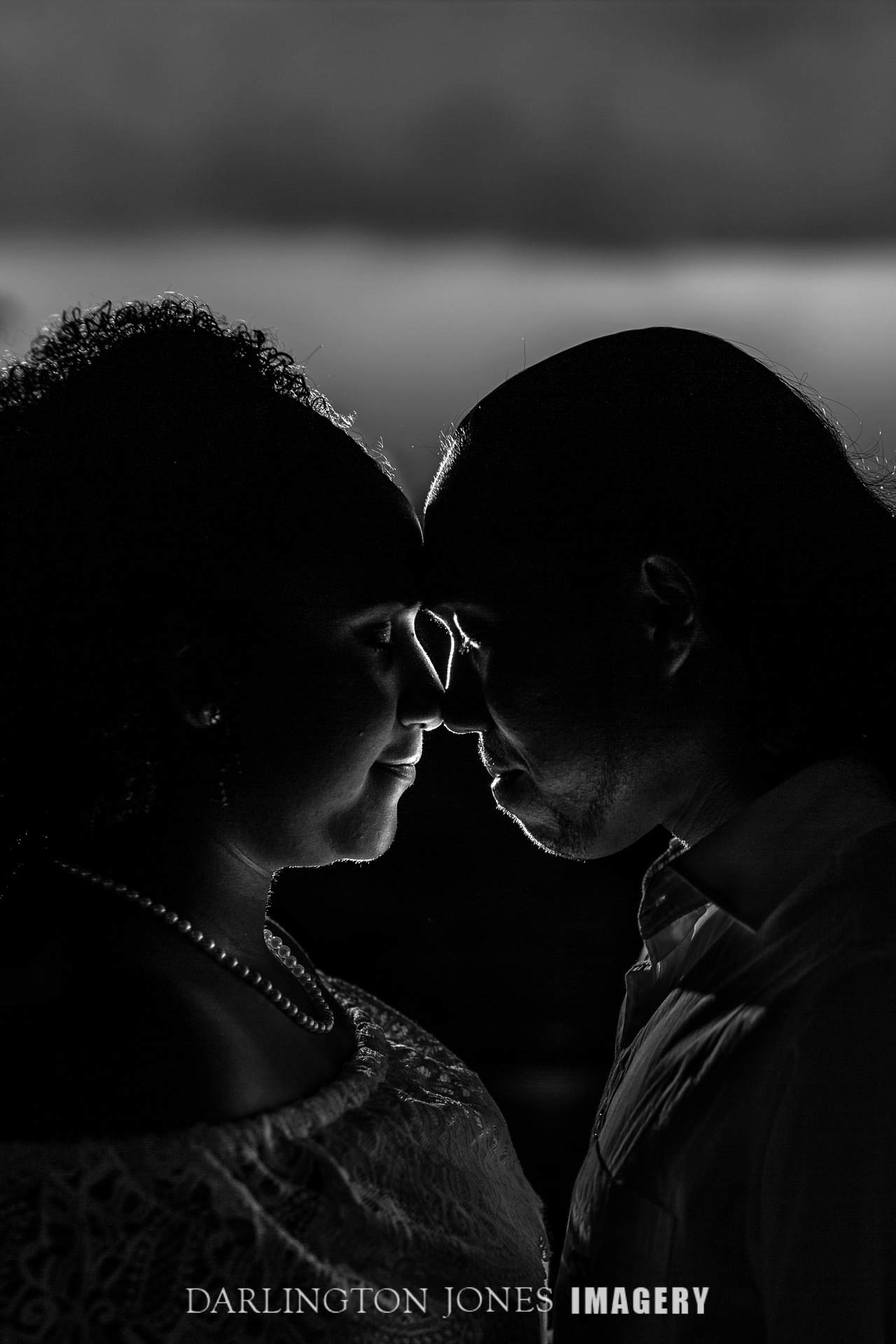Black and White partial silhouette engaged couple face to face